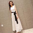 限定款長洋裝 正韓白色洋裝無袖鏤空蕾絲黑色洋裝顯瘦打底A字裙禮服連身長裙長禮服