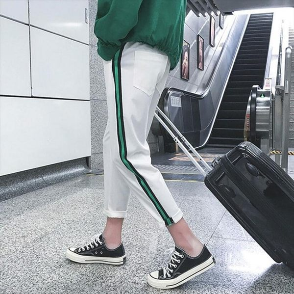 找到自己品牌 時尚潮流 男 拼色豎條紋 休閒褲 九分褲 運動長褲
