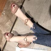 仙女風chic粗跟涼鞋2019春季新款韓版百搭網紅高跟一字扣帶女鞋子 米蘭潮鞋館