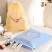 印花整理抽繩收納袋(大號37x41) 單入 旅行 拉繩束口袋 收口袋 雜物 整理袋【P632】慢思行