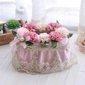 春季上新 歐式簡約布藝紙巾盒田園創意蕾絲紙巾餐廳客廳桌面塑料抽紙盒子