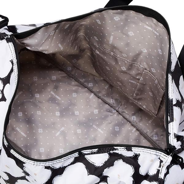 HAPI+TAS 摺疊大旅行袋 - 黑色塗鴉花朵
