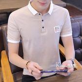 夏季新款男士短袖t恤男修身翻領polo衫潮流韓版青年男裝半袖上衣