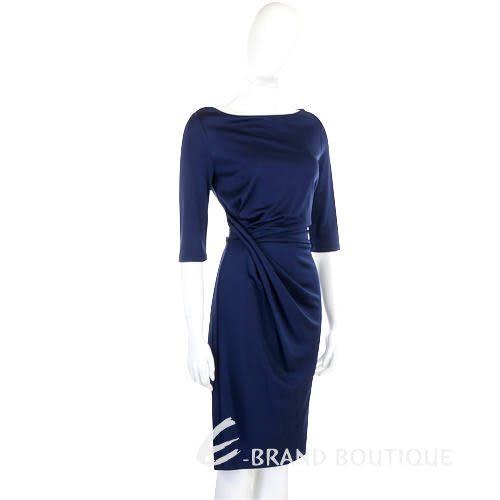 CLASS roberto cavalli 深藍色皺褶七分袖洋裝 0940244-23