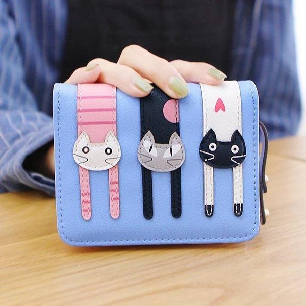 可愛3隻小貓咪立體拼接錢包零錢包皮夾短夾非中夾長夾