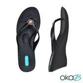【Oka-B】TILDA圓形配飾人字夾腳楔型高跟涼鞋  黑色(K409TI-BL)
