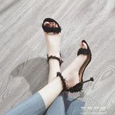 涼鞋女夏季韓版細跟chic涼鞋百搭學生小清新高跟鞋女鞋子可可鞋櫃