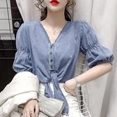 牛仔上衣短款女夏季新款復古設計感小眾V領綁帶短袖薄款襯衫 母親節禮物