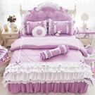 加大雙人床罩 公主風床罩 6尺 菲兒 淺紫 蛋糕床裙床罩 結婚床罩 床裙組 荷葉邊床罩 佛你