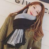 📢現貨供應📢韓國外貿原單時尚百搭雙面拚色雙色黑灰色圍巾秋冬季仿羊絨毛線拼色圍巾披肩兩