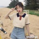 短袖t恤女裝2021夏季新款小清新POLO領韓版學院風百搭寬鬆上衣ins 時尚芭莎