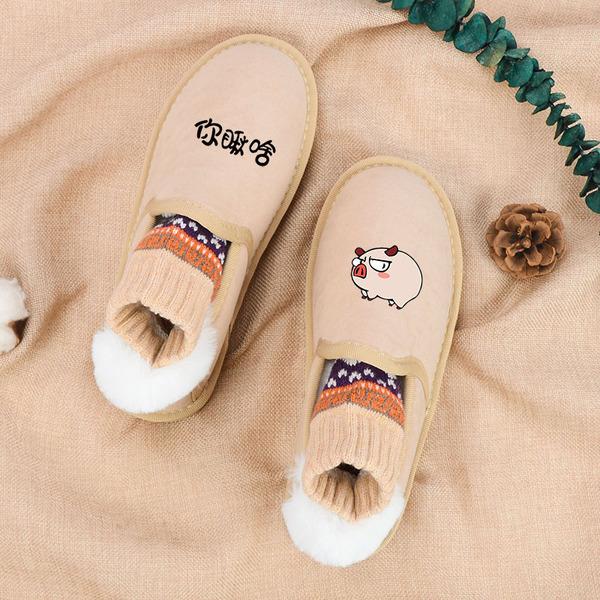 面包鞋女2019秋冬新款韓版百搭懶人一腳蹬加絨棉鞋學生雪地保暖靴