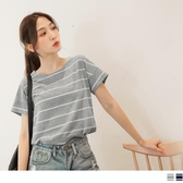 《AB11013》台灣製造.竹節棉休閒風條紋拼接袖口上衣/T恤 OrangeBear