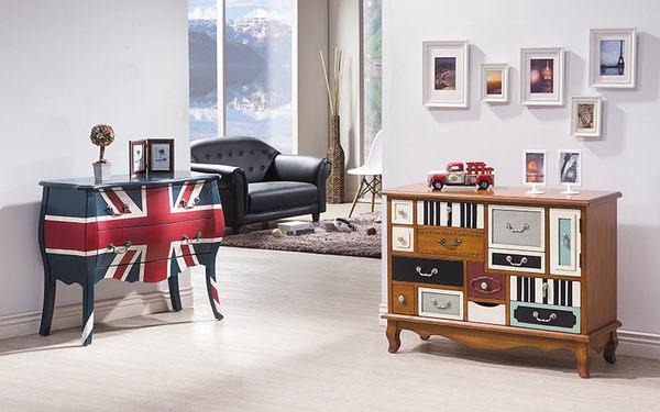 【森可家居】英倫3尺二抽裝飾置物櫃 7HY401-1