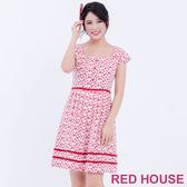 【RED HOUSE 蕾赫斯】心型領雪花圖案洋裝(共2色)