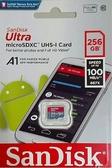 【聖影數位】SanDisk Ultra Micro SDXC 100MB/S 256G Class10 U1 A1 記憶卡 無附轉卡