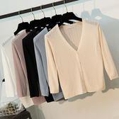 空調衫夏季防曬開衫外搭冰絲針織衫女短款冰麻披肩七分袖空調衫薄款外套 台北日光