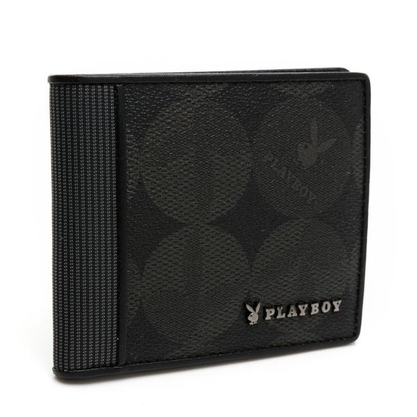 PLAYBOY - 短夾附零錢袋 League系列 - 黑色