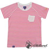 Wildland 荒野 0A31698-15珊瑚紅 中童 條紋仿棉抗UV排汗衣