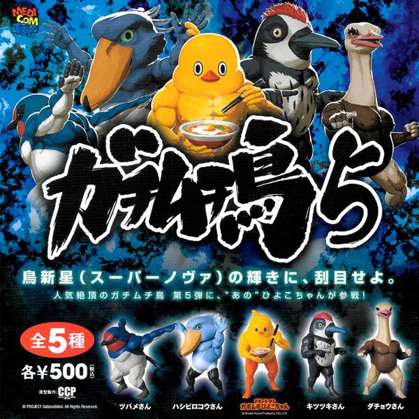 全套5款【日本正版】千錘百鍊 筋肉鳥 P5 扭蛋 轉蛋 日清小雞 筋肉日清小雞 健美鳥 肌肉鳥 - 593104