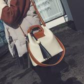 潮女大包 包包新款女包拼色水桶包流蘇軟皮大包手提包木珠包斜跨單肩包【店慶八折特惠一天】