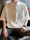 日系寬鬆短袖T恤學生潮流POLO衫夏季情侶百搭衣服男艾美時尚衣櫥
