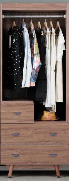 【森可家居】蘿拉2.5尺柚木色三抽衣櫃(單吊) 7JX17-8 衣櫥 木紋質感 無印北歐風 MIT