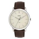 FOSSIL 紐約時刻簡約真皮手錶(FS5439)-銀x咖啡/44mm
