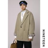 毛呢大衣 秋冬新款男女韓版風衣毛呢大衣寬鬆拼接格子休閒呢子外套 小天後