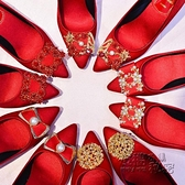 婚鞋女2020新款結婚鞋平底中式秀禾服婚鞋粗跟孕婦紅色新娘鞋敬酒 衣櫥秘密