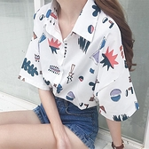 襯衫 2021夏季新款韓版chic卡通印花學生上衣寬松百搭Polo領短袖襯衫女 霓裳細軟