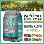 *KING *美國Nutrience紐崔斯《INFUSION天然室內貓飼料-雞肉》1.13公斤