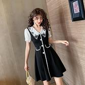 出清388 韓系復古閃光雪紡甜美方釦收腰短袖洋裝