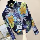 印花襯衫女復古港味春季韓版時尚寬鬆顯瘦洋氣棉麻碎花上衣女長袖 設計師