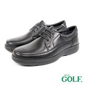 【GOLF】舒適輕量頂級牛皮綁帶氣墊休閒皮鞋 黑色(GF3402-BL)