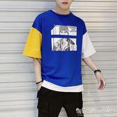 T恤 5五分袖t恤男夏季新款寬鬆中袖上衣服韓版潮流半袖體恤男短袖 晴天時尚館