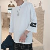 中大碼T恤 2019夏季短袖t恤男士七分袖寬鬆情侶款半袖上衣服韓版五分袖潮流