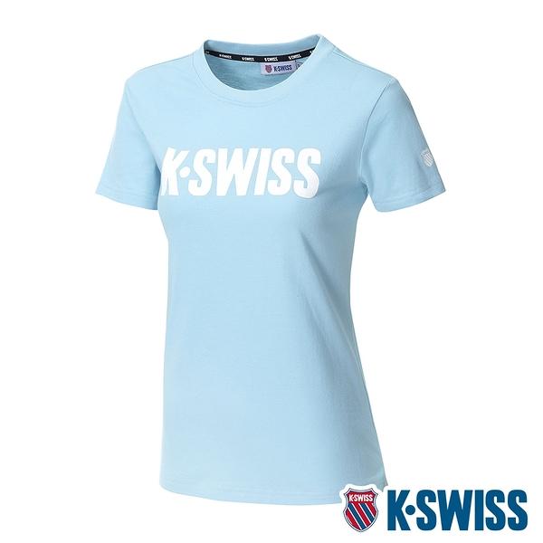 K-SWISS Contrast Logo Tee棉質吸排T恤-女-水藍