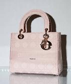 ■專櫃94折■ 全新真品■Dior Lady Dior 中款 Lady D-Lite 包 粉紅色 Cannage Cannage 藤格紋刺繡斜紋防水帆布