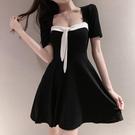 黑色氣質短袖短裙新款夏季法式復古顯瘦性感露背連衣裙遮肚子潮女 pinkq時尚女裝