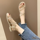 套趾平底涼鞋 女仙女風2020新款時尚水鉆一字帶鞋夏季羅馬女鞋 BT22570『bad boy時尚』