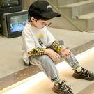 快速出貨 男童T恤男童裝洋氣假兩件長袖t恤6歲兒童款韓版上衣連帽T恤潮