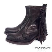 Tino Bellini義大利進口切割牛皮流蘇中跟短靴_深咖 B69024 歐洲進口
