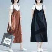 棉麻 百搭吊帶洋裝-中大尺碼 獨具衣格