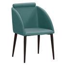 【森可家居】古巴克藍色皮餐椅 8ZX978-6 北歐風 出清折扣