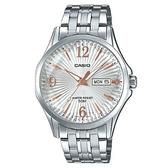 CASIO 六芒星璀璨閃耀精緻不鏽鋼紳士錶-白X玫瑰金(MTP-E120DY-7A)