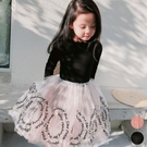 木耳邊螺紋拼接字母蕾絲紗裙洋裝 連衣裙 ...