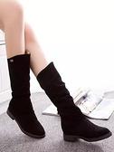 長靴 秋冬季新款英倫低粗跟長靴高筒瘦瘦女靴子厚平底中長筒騎士靴  夏季新品