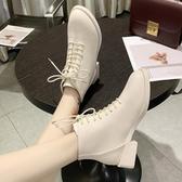 馬丁靴 白色女英倫風新款春秋款單靴粗跟短靴帥氣機車靴小跟冬 - 歐美韓熱銷
