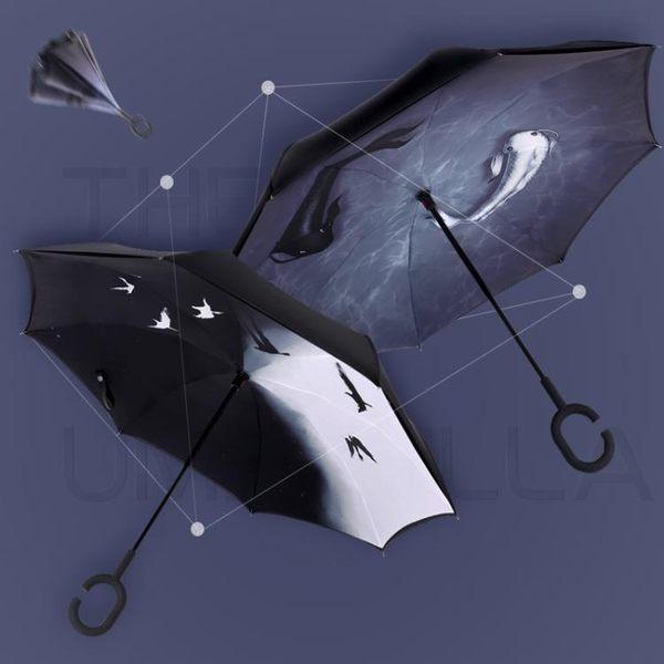 反向式雨傘 反向傘女雙人免持式長柄雨傘男晴雨兩用創意汽車傘超大號加固全館免運wy